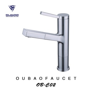 Chrome Deck Mounted Bathroom Pull Out Basin Faucet