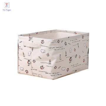 100% cotton storage box laundry basket organizer with dual