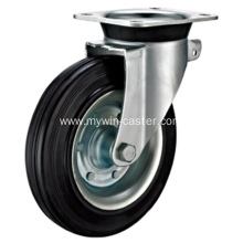 6 Inch Plate Swivel Black Rubber Iron Core Dustbin Wheel