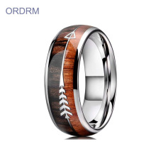 Unique Tungsten Mens Wedding Ring Wood Inlay