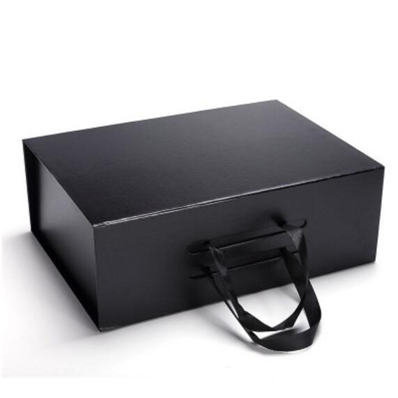 black cardboard folding box magnetic closure paper box