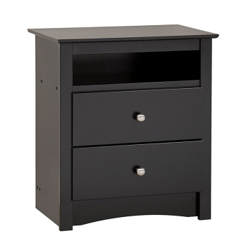 Black Bedside Cabinet 2-Drawer Wood Night Stand Table