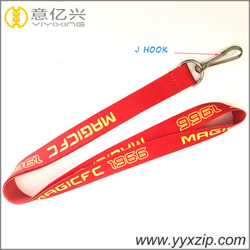 J hook sublimation red lanyard for promotion event