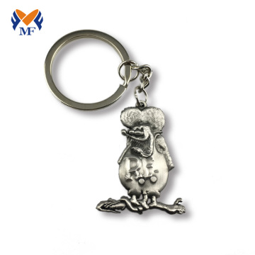 Antique silver metal custom 3d cute keychain