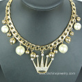 Rhinestone Crown Pearl Choker Gold Chain Necklace For Women