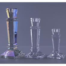 Square Shape Crystal Glasss Taper Candle Holder