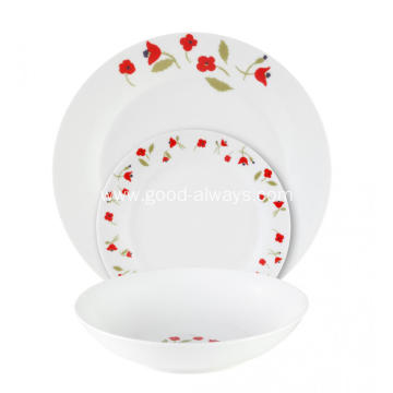 18 Piece Porcelain Tableware Dinner Set , Little Red Flower