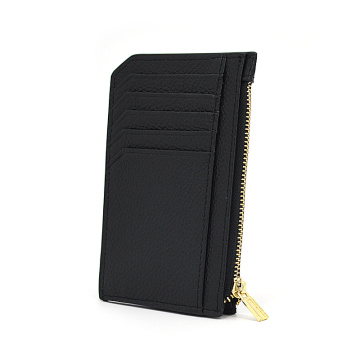 New Portable Zipper Leather Card Holder With Keychain