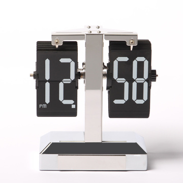 Flip Clock Silver Case with Decorative Light