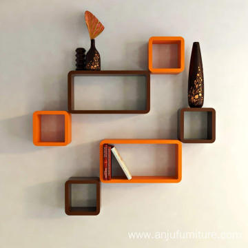 Wall Shelf Set of Six Cube Rectangle Designer Wall Rack Shelves