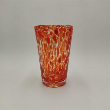 Swirled glass orange color highball glass