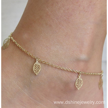 Summer Footlet Temperament Simple Gold Hollow Leaves Anklet Bracelet