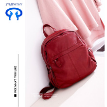 New pure color PU washed backpack backpack