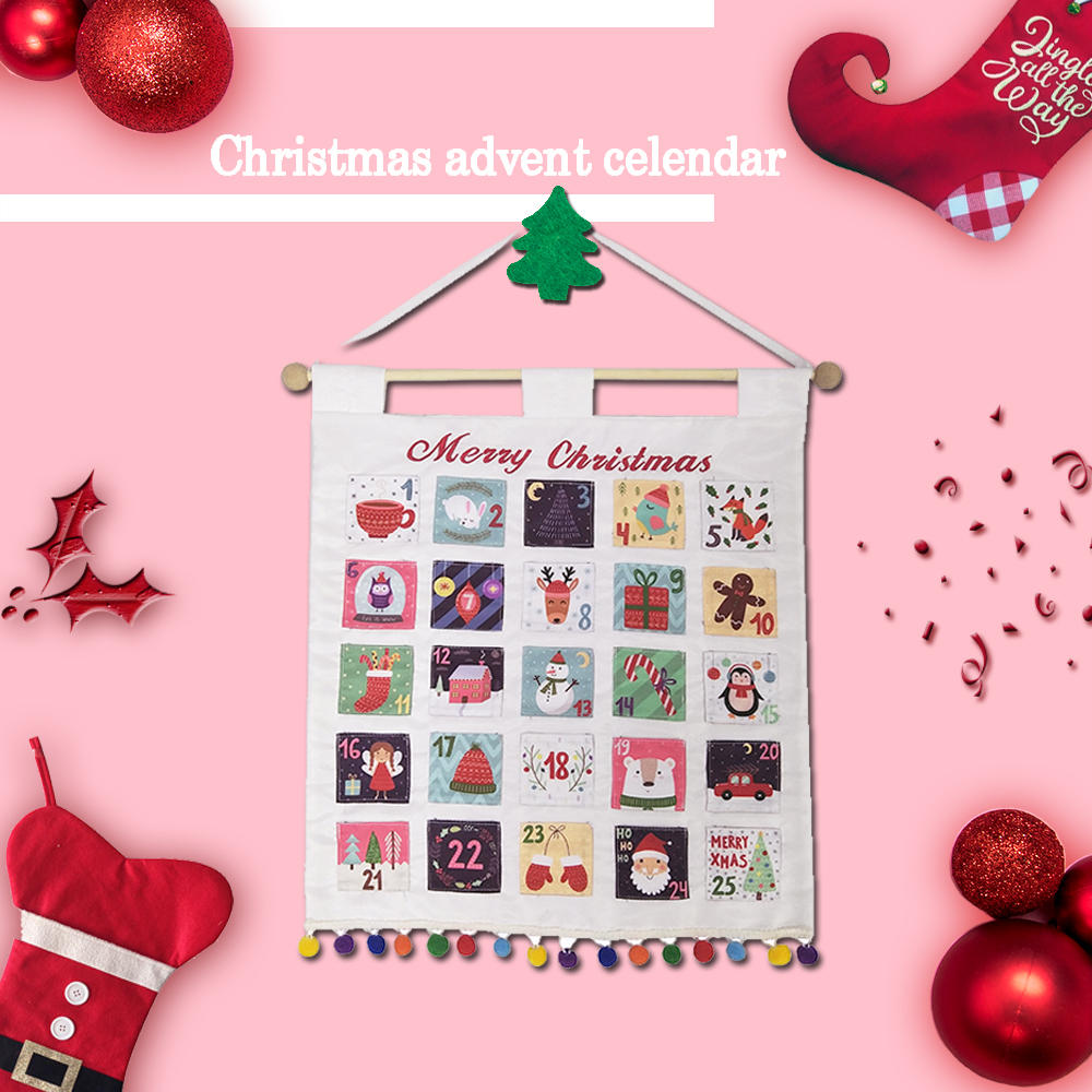 New style white christmas countdown advent calendar
