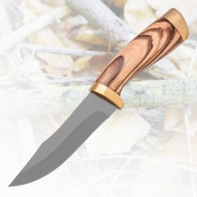 Customized for Sharpest Hunting Knife Copper Decorative Wooden Handle Hunting Survival Knife export to India Factory