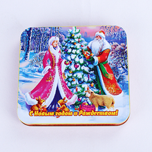 Two pieces of window tinplate gift wrap tin