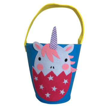 Easter blue felt tote bucket with unicorn shape