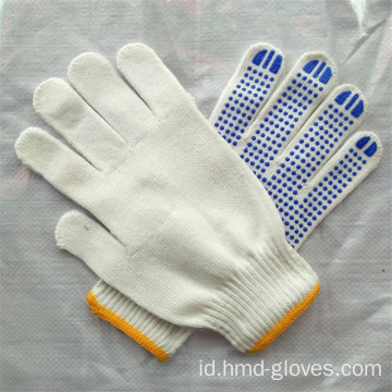 Hot Sale Navy Blue Rajutan PVC Dotted Glove