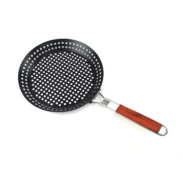 grill baking basket pan with flexional handle