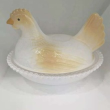 Crystal Glass Hen-on-Nest Dishes Glass Candy Dishes