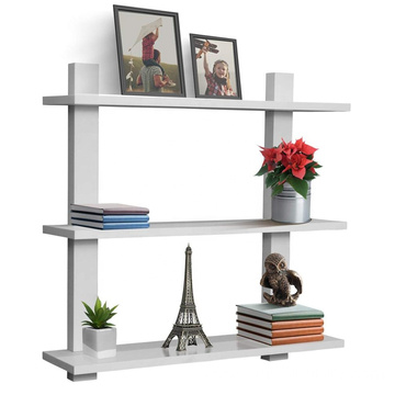 3 Tier White Floating Shelf Asymmetric Square Wall Shelf Decorative Hanging Display Wall Mounted Hanging Shelf