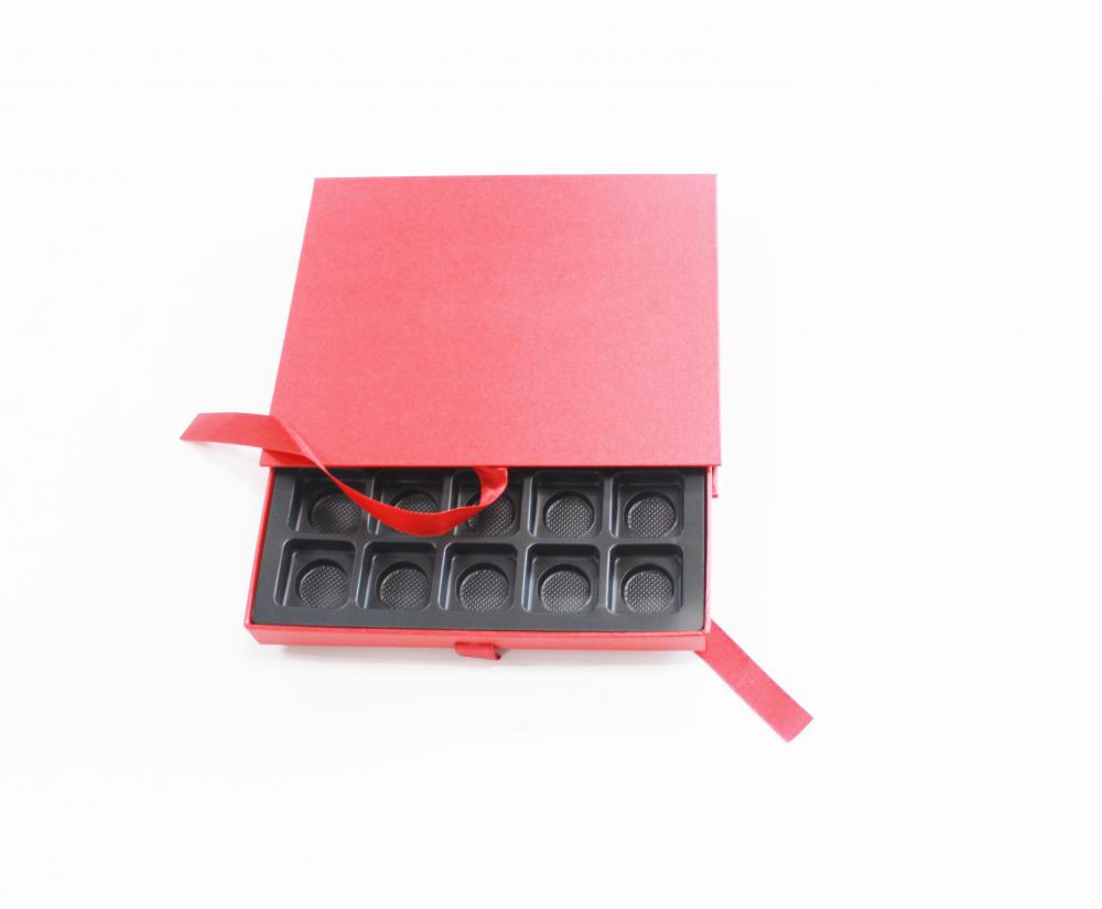 Red Matt Sliding Cardboard Box With Tray