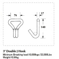 4 Inch Heavy Duty Double J Hook with 22000LBS Capacity