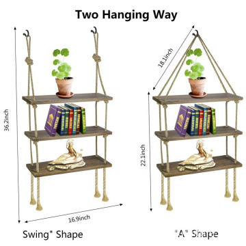 Rustic Wall Mounted 3 tiers Floating Corner Shelves
