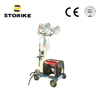 Hand Push Diesel Generator Mast Mobile light tower