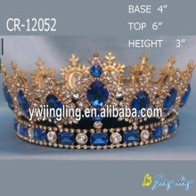 Full Round Sapphire King Crowns Pageant Queen Crowns