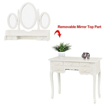 White Drawer Mirrored Wooden Wall Mounted 3 mirrors Movable Dressing Table Designs