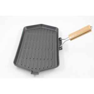 Cast Iron Griddle With Wooden Handle for cooking