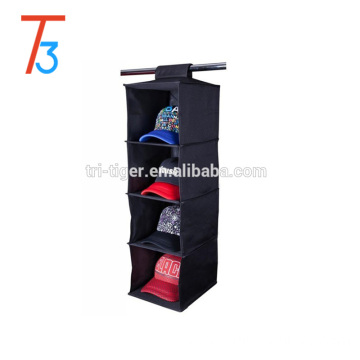 Hanging clothes closet/cloth storage organizer with 4 shelves