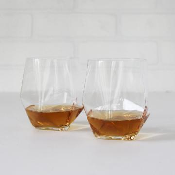 Gold Rimmed Geometric Crystal Glass Whisky Tumbler