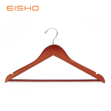 EISHO Cherry Flat Wood Suit Hangers With Bar