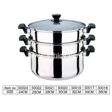 Stainless steel pot with three layers