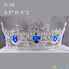 Full Round Sapphire Rhinestone Beauty Queen Pageant Crowns
