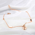 14k stainless steel rose gold heart anklet