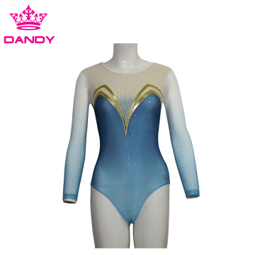 Гимнастикаи Leotard рақси кабуди Long Sleeve