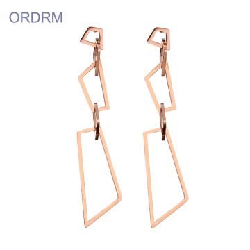 Simple Dainty Rose Gold Geometric Dangle Earrings