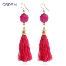 Hot-selling for Tassel Dangle Earrings Big red drop tassel earrings buy online export to Japan Wholesale