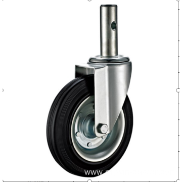100  mm  threaded steam European  industrial rubber  swivel  casters with brakes