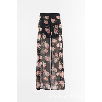 Print chiffon with wide leg pants