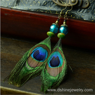 Customized Retro Peacock Feather Earring With TurquoiseBead
