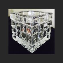 Glass Square Embossed Tealight Holder