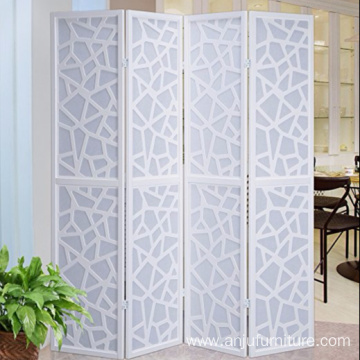 Folding solid wood 4 Panel Room Divider Screen, White Color With Decorative Cutouts