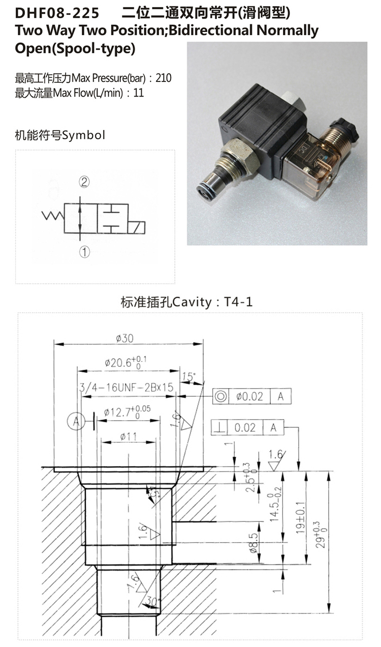 Hydraulic Bidirectional Normally Open Solenoid Valve