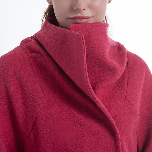 Long Rose Red Cashmere Overcoat