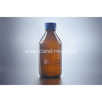 Reagent Bottle with Plastic Blue Screw Cap Amber