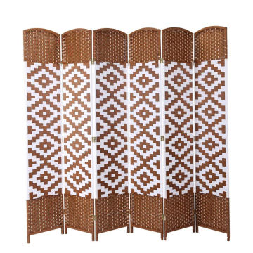 Wide Diamond Weave Fiber Room Divider White Diamond 6 Panels